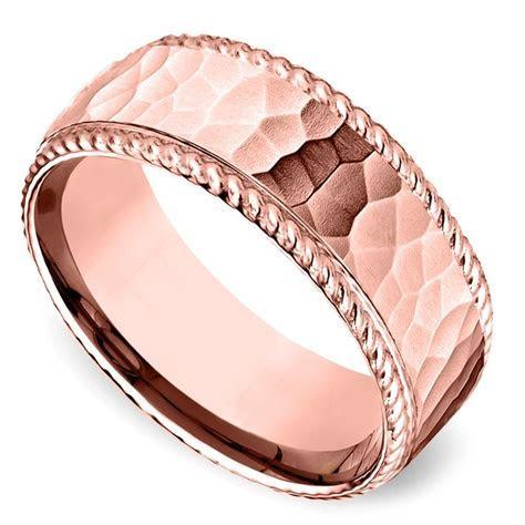 Hammered Rope Edging Men's Wedding Ring in Rose Gold