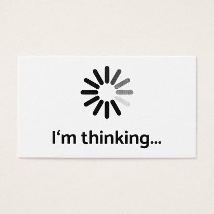 I'm thinking (loading | nerd) white background business card
