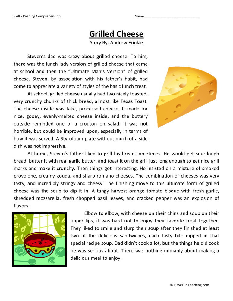 Reading Prehension Worksheet Grilled Cheese