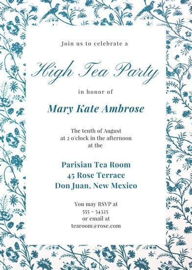 Customize 3,999  Tea Party Invitation templates online   Canva