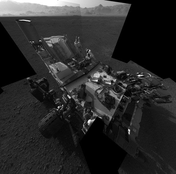 A Navigation camera image of the Curiosity rover on the surface of Mars...taken on August 7, 2012 (Pacific Daylight Time).