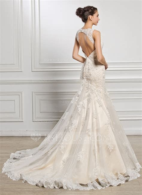 Trumpet/Mermaid Sweetheart Court Train Tulle Lace Wedding