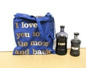 I love you to the moon cotton grocery bag - Valentines gift - reusable blue shopping bag - gold print - constarlation