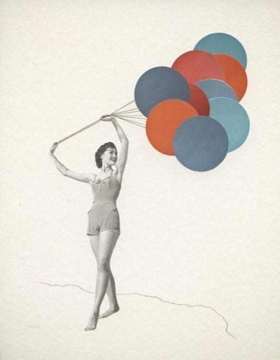 Balloons. 7x9 Print of an Original Collage.