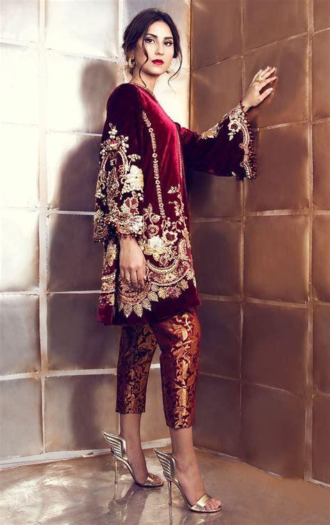 Maroon Velvet Suit with Pakistani Pant   Ethinic Fashion