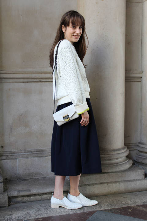 Alison wears: Jumper: Palmer Harding, Skirt: Preen, Shoes: Robert Clergerie, Bag: Time's Arrow