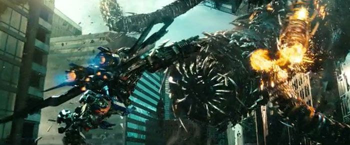 Optimus Prime takes on the 'Driller' in TRANSFORMERS: DARK OF THE MOON.