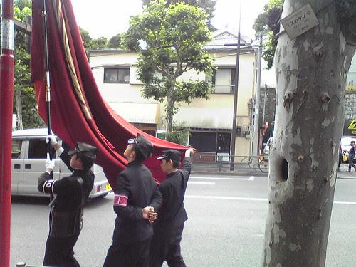 Flag bearers of the Waseda High School parade