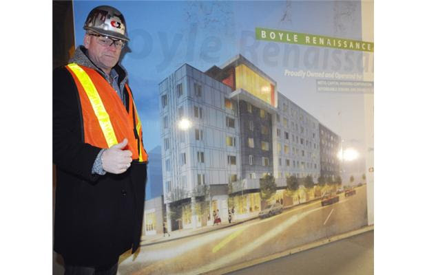 Mike Holmes inspects the new Boyle Renaissance Senior's project phase 2 on December 21, 2012 in Edmonton.