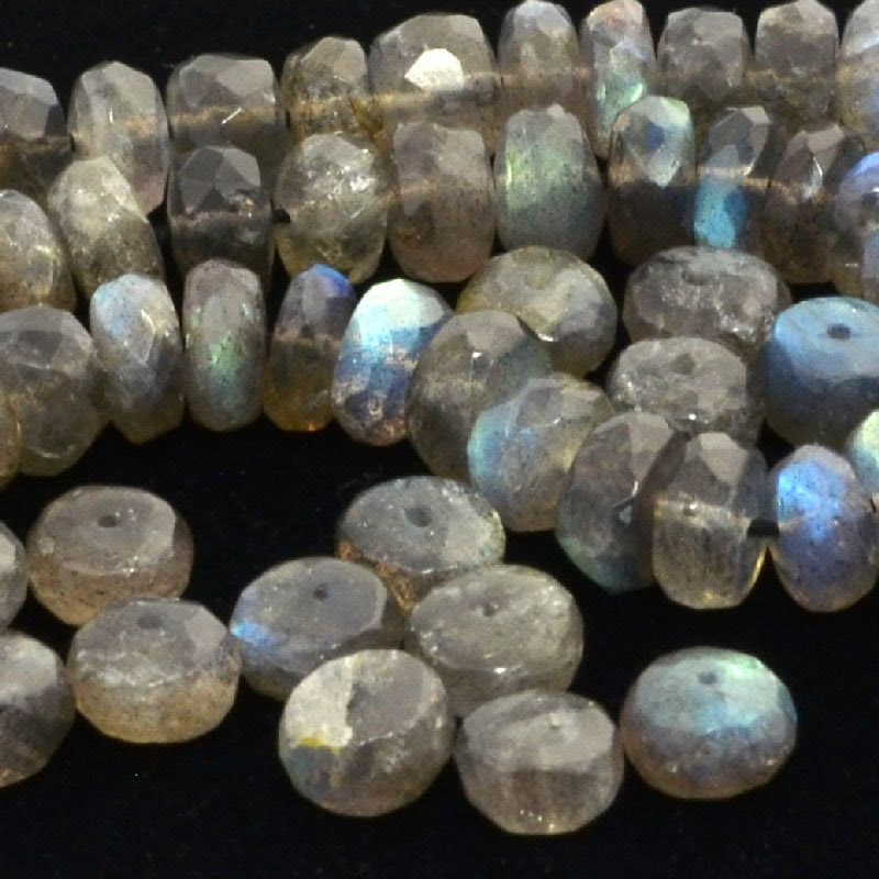 s43937 Stone Beads - 8 mm Faceted Rondelle Donuts - Labradorite (1)