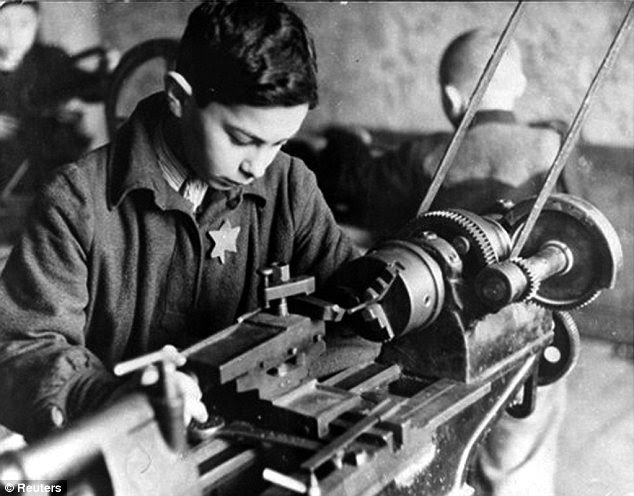Old and young: The league table follows revelations earlier that Audi, which was known as Auto Union during the Nazi period, was a big exploiter of concentration camp supplied slave labor, using 20,000 concentration camp inmates, such as this young boy, in its factories