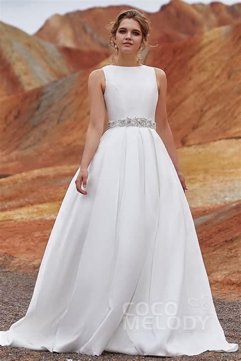 A LineTrain Satin Side Zipper Wedding Dress LD3845