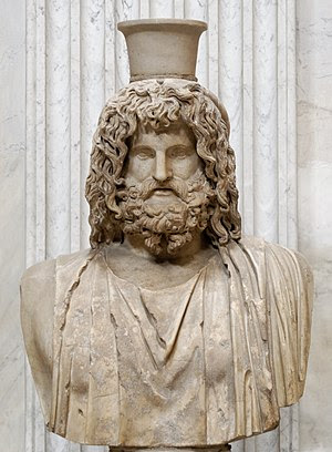 Bust of Serapis. Marble, Roman copy after a Gr...