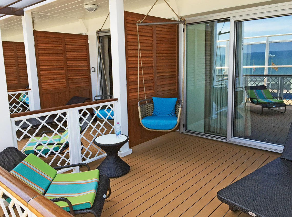 The patio of a Havana Cabana suite includes a swing chair. Photo Credit: Tom Stieghorst
