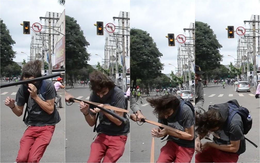 Sequência de fotos mostra que cassetete de PM quebrou durante agressão a estudante, em Goiás (Foto: Arquivo pessoal/Luiz da Luz)