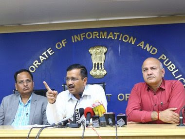 Delhi chief minister Arvind Kejriwal addressing a press conference. Image courtesy: Twitter/@AamAadmiParty