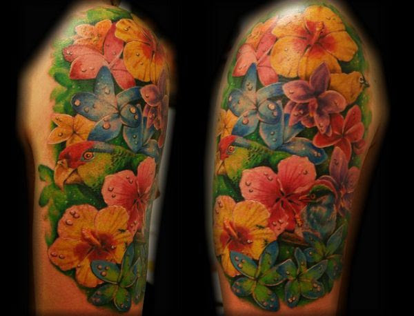 Colored Sleeve Flower Tattoo
