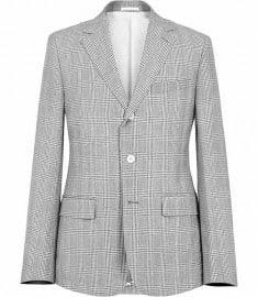 Reiss Sunseeker B 2 Button Cotton Check Blazer Grey