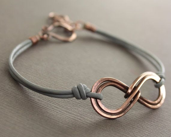 Unisex double infinity copper bracelet with gray by IngoDesign, $22.00 - nice