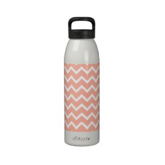 Coral and White Zig Zag Pattern. Reusable Water Bottle