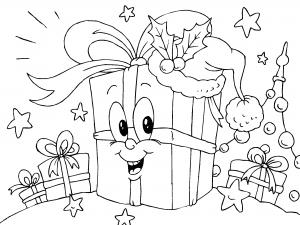 Colorear Regalo De Navidad Dibujos De Postales De Navidad Para