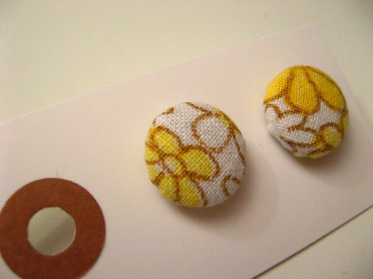 Fabric button stud earrings