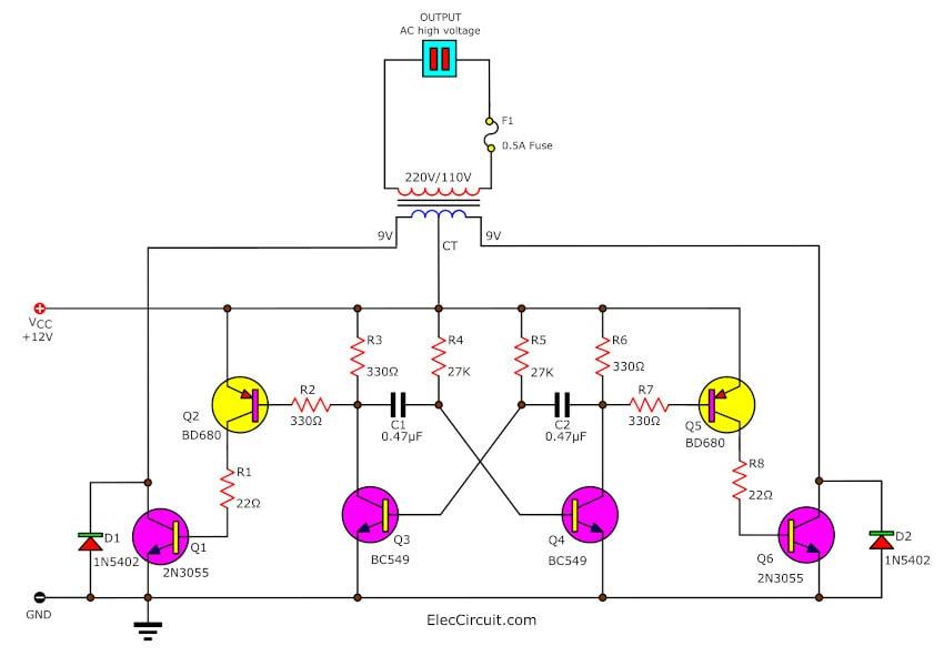 Scematic    Diagram    Panel  Simple Soldering Iron Inverter Circuit Using 2n3055