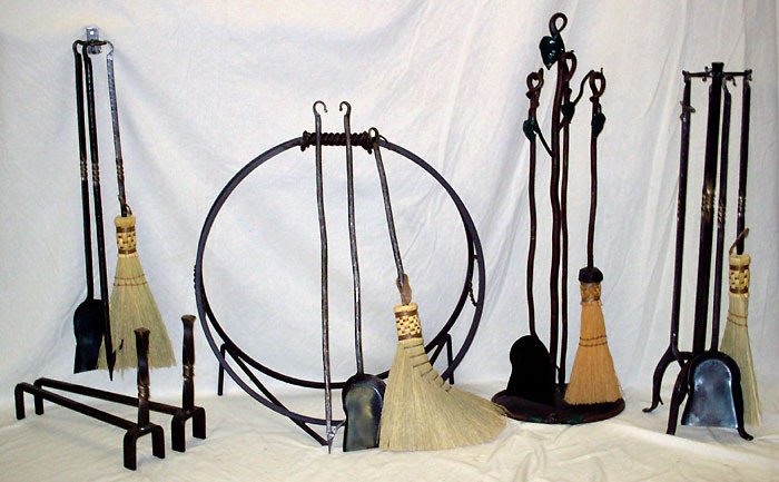 Hand Forged Wrought Iron Fireplace Woodstove Tool Sets And