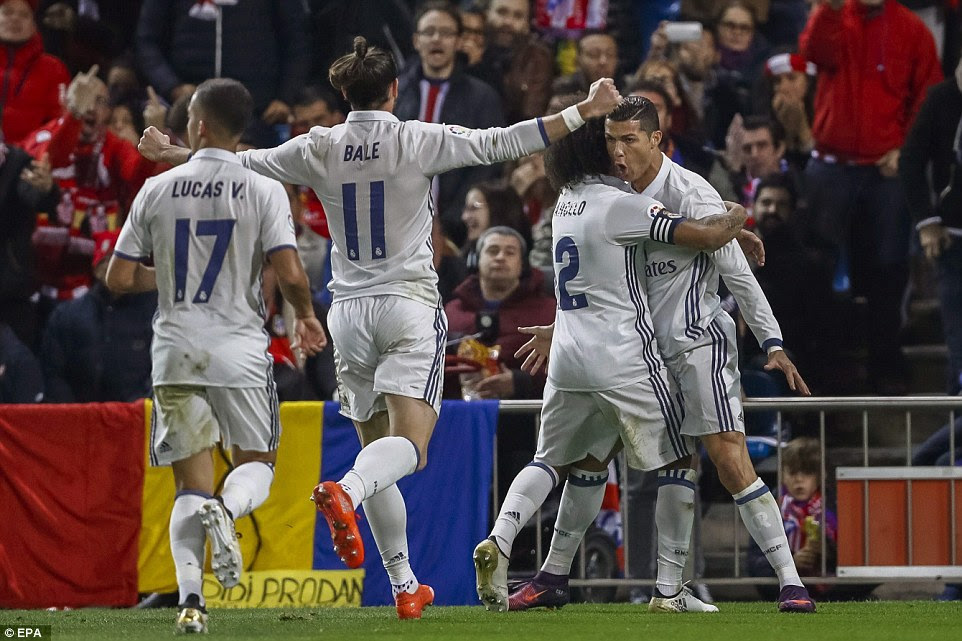 Lucas Vasquez, Gareth Bale and Marcelo were the first to reach Ronaldo and join in the celebrations of the opening strike