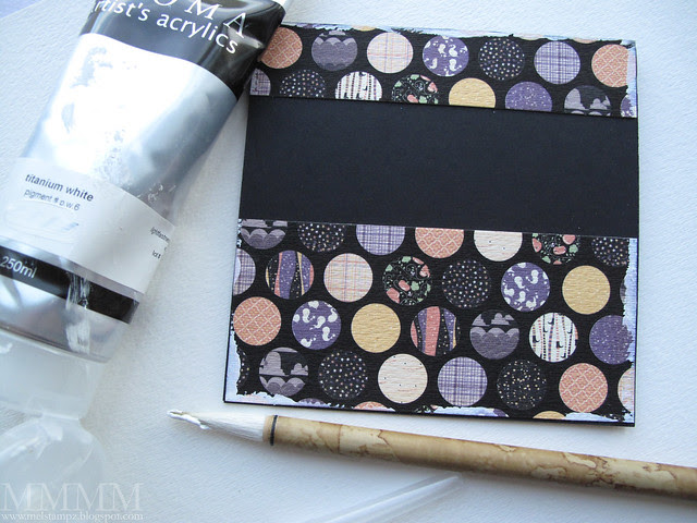 Dry brush pieces of digital paper with white paint & adhere to a black card