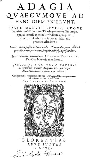 Erasmus, Adagia. The 1575 edition by Paolo Manuzio
