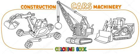 komik insaat arabalari ayarla boyama kitabi stok vektoer