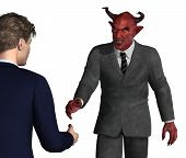 pic of lucifer  - An unsuspecting businessman is about to shake hands with the devil  - JPG