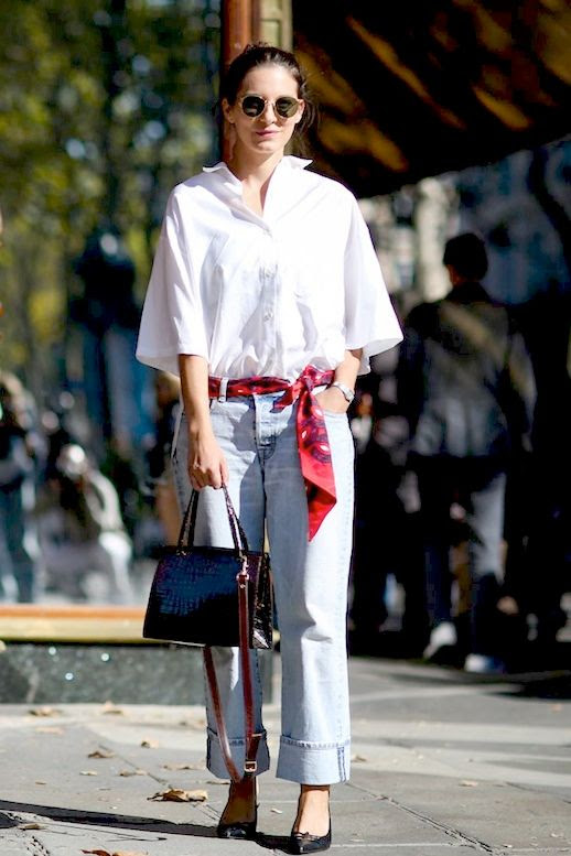 Le Fashion Blog Street Style Pfw Casual Cool Round Sunglasses White Button Down Shirt Scarf As A Belt Baggy Boyfriend Jeans Burgundy Tote Bag Kitten Heels Via Refinery29