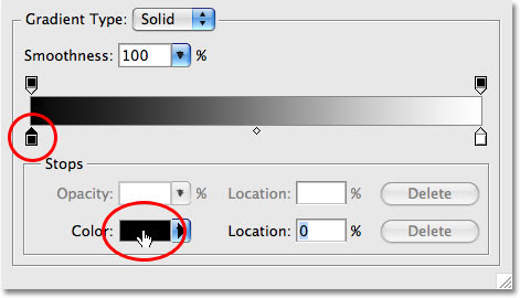 The Gradient Editor in Photoshop. Image © 2009 Photoshop Essentials.com.