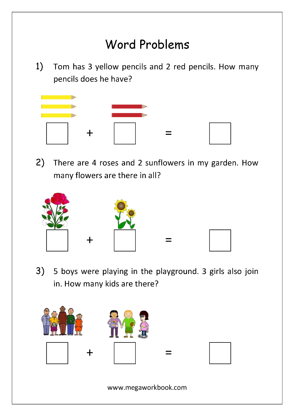 Addition And Subtraction Word Problems Worksheets For Kindergarten