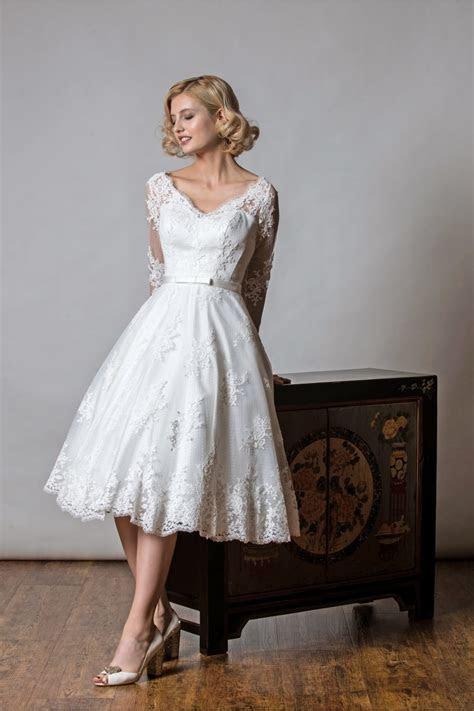 1048 SHELLEY Rita Mae Tea Length Lace Polka Short Wedding
