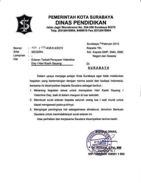 Surat Edaran Dinas Pendidikan Kota Surabaya terkait ...