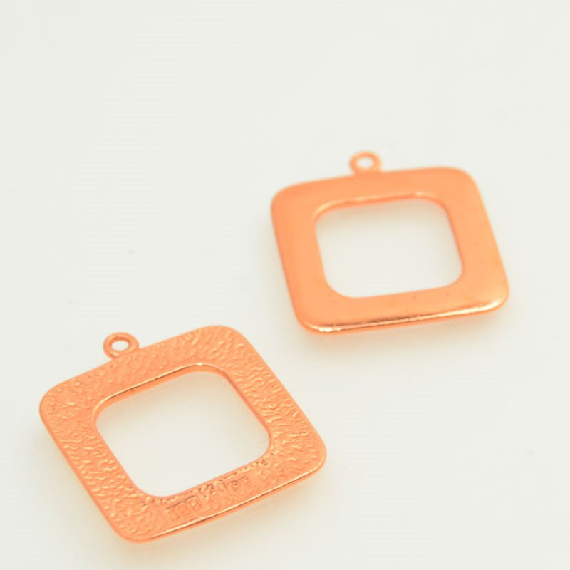 s47824 Metal Blank - 25 mm Open Square with Loop - Bright Copper (2)