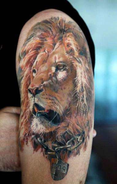 Realistic Lion Head Shoulder Tattoo Design In 2017 Real Photo