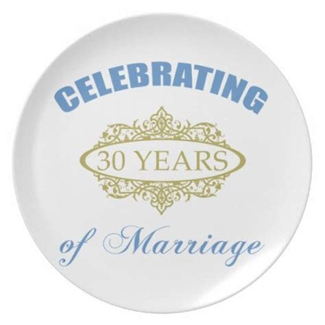 Celebrating 30 Years Of Marriage Dinner Plates, 30th