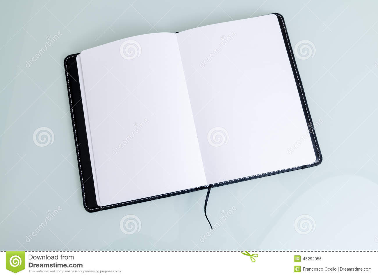 clean open notebook paper black cover horizontal lines white background 45292056