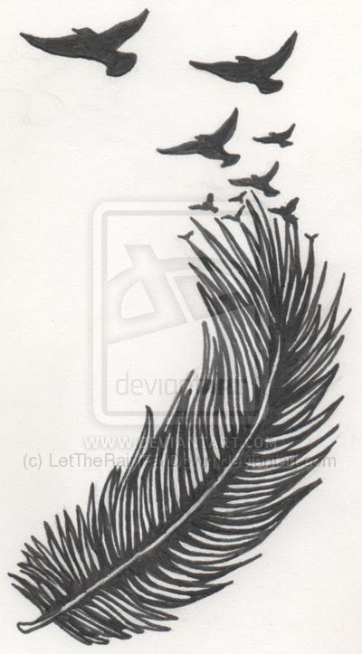 Latest Flying Birds And Feather Tattoo Design
