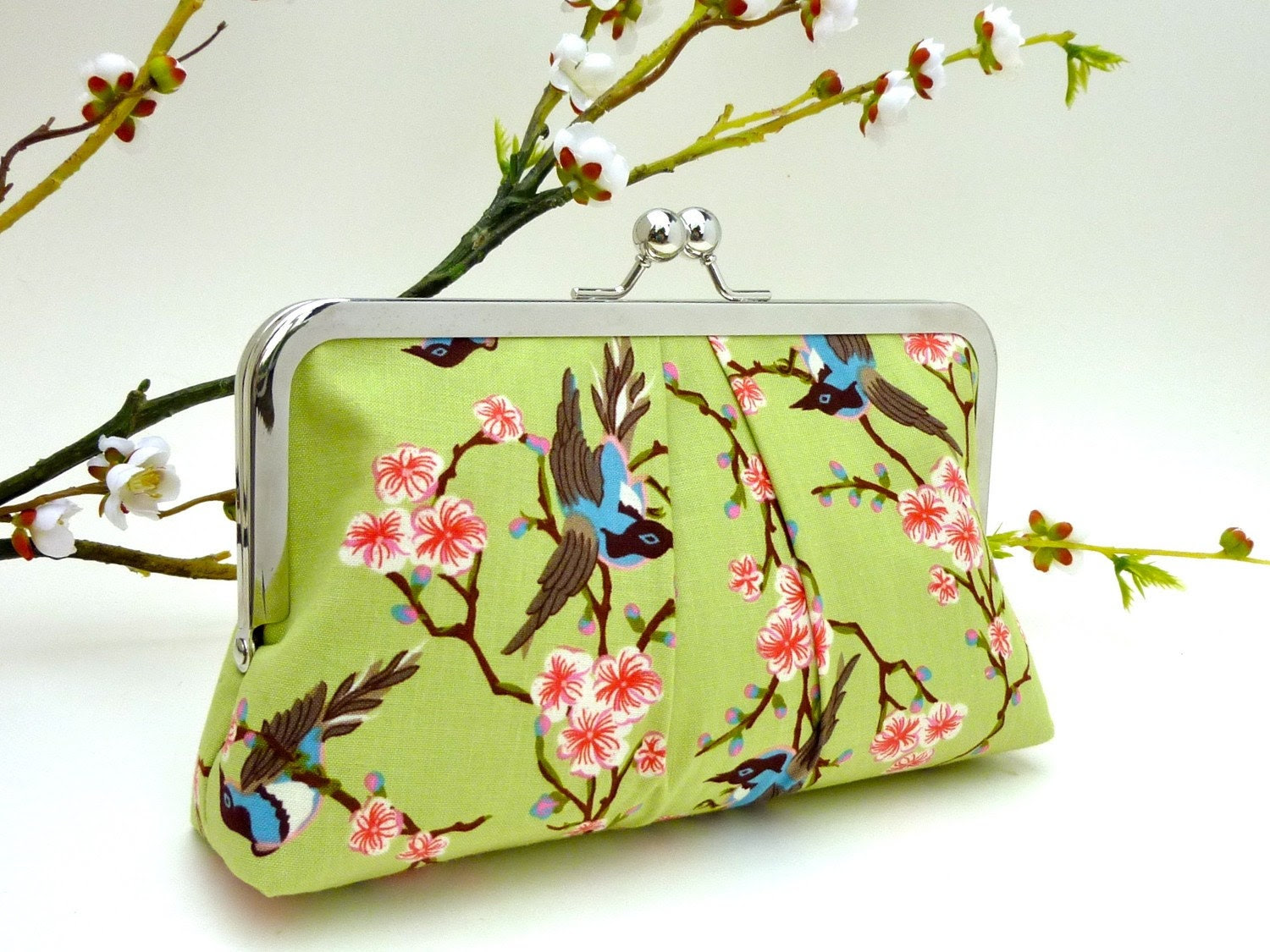 NEW- Whispering Birds in Spring KissLock Clutch