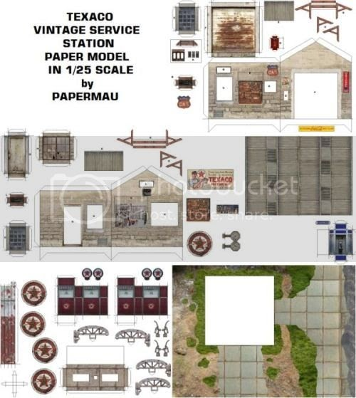 Free Scale Paper House Papermau: PAPERMAU: Texaco Vintage Service Station Paper Model In 1