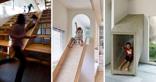 Casas que têm escorregadores como forma de acesso a outros cômodos