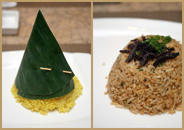 Tumpeng Nasi Kuning and Nasi Moluccas (topped with shredded dried beef)