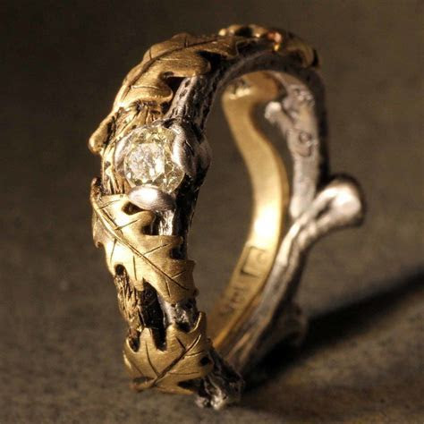 """Nature Inspired Twig Ring """"Dulcie,"""" cast from 14k white"""