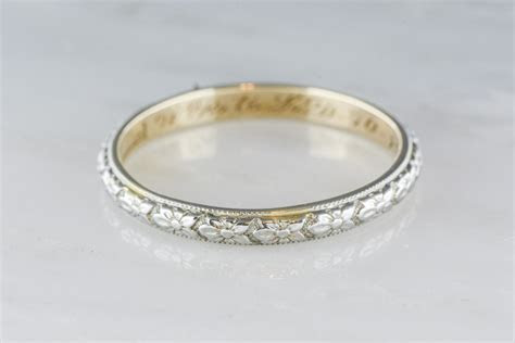 Antique Two Tone Men's Victorian 14K Gold Wedding Band