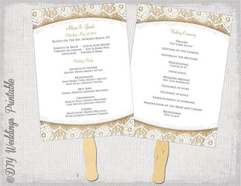 wedding program fan template rustic burlap lace diy